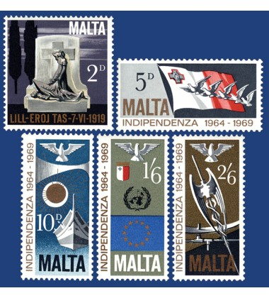 MALTA STAMPS 5TH ANNIVERSARY OF INDEPENDENCE
