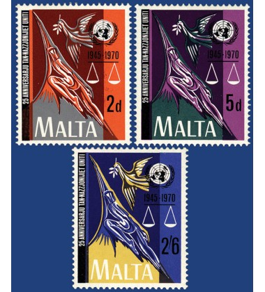 MALTA STAMPS 25TH ANNIVERSARY OF THE UNITED NAITONS