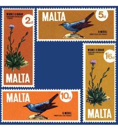 MALTA STAMPS NATIONAL BIRD & PLANT