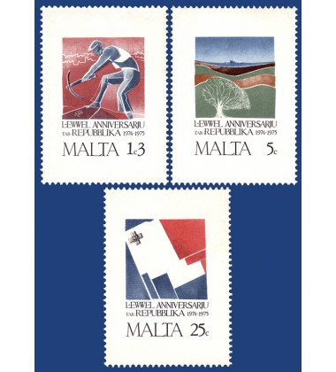 MALTA STAMPS 1ST ANNIVERSARY OF THE REPUBLIC