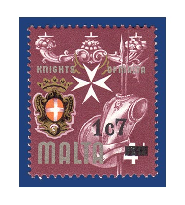 MALTA STAMPS NO 316 WITH 1C7 OVERPRINT