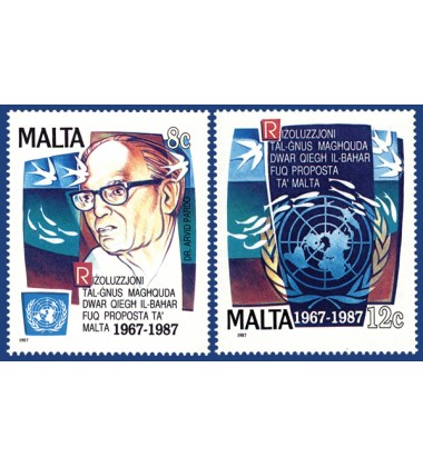 MALTA STAMPS 20TH ANN OF THE U.N. RESOLUTION OF THE SEABED