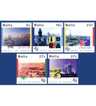 MALTA STAMPS UNIVERSAL POSTAL UNION SE-TENANT OF 5 STAMPS