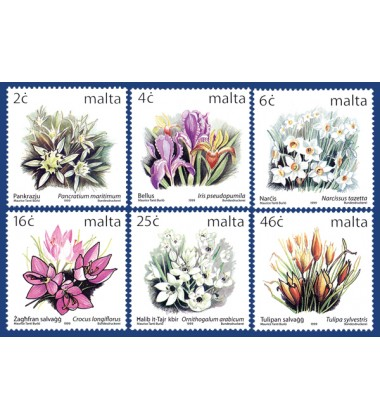 MALTA STAMPS DEFINITIVE FLOWERS I