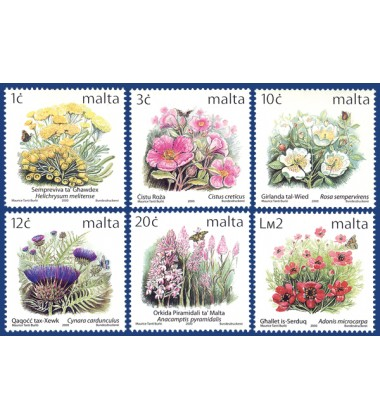 MALTA STAMPS DEFINITIVE FLOWERS II