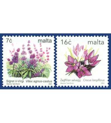 MALTA STAMPS DEFINITIVE FLOWERS PARTIALLY IMPERFORATED, SELF ADHESIVE