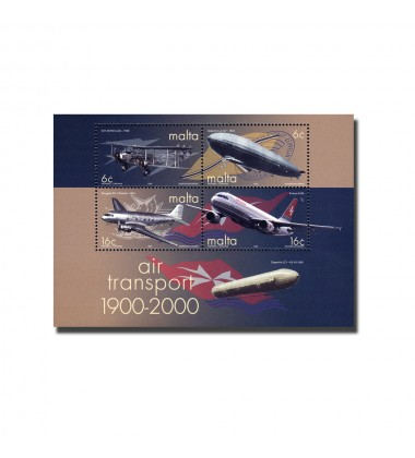 MALTA MINIATURE SHEET AIR TRANSPORT 1900-2000