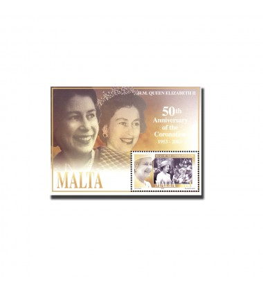 MALTA MINIATURE SHEET QUEEN'S CORONATION JUBILEE