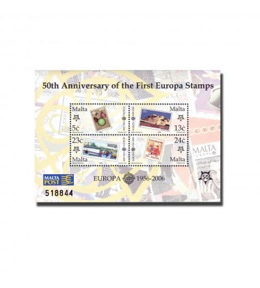 MALTA MINIATURE SHEET 50TH ANNIVERSARY OF THE FIRST EUROPA STAMPS