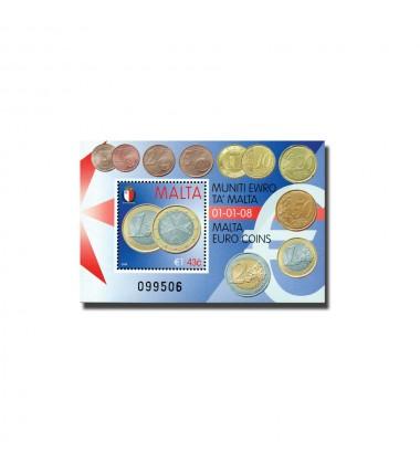 MALTA MINIATURE SHEET MALTA EURO COINS