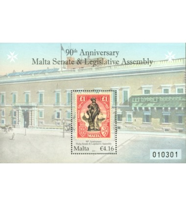 MALTA MINIATURE SHEET 90TH ANNIVERSARY MALTA SENATE & LEGISLATIVE ASSE