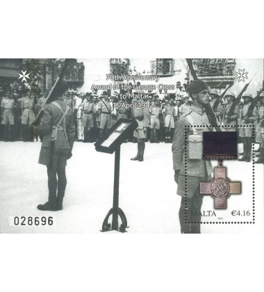 MALTA MINIATURE SHEET 70TH ANNIVERSARY GEORGE CROSS AWARD