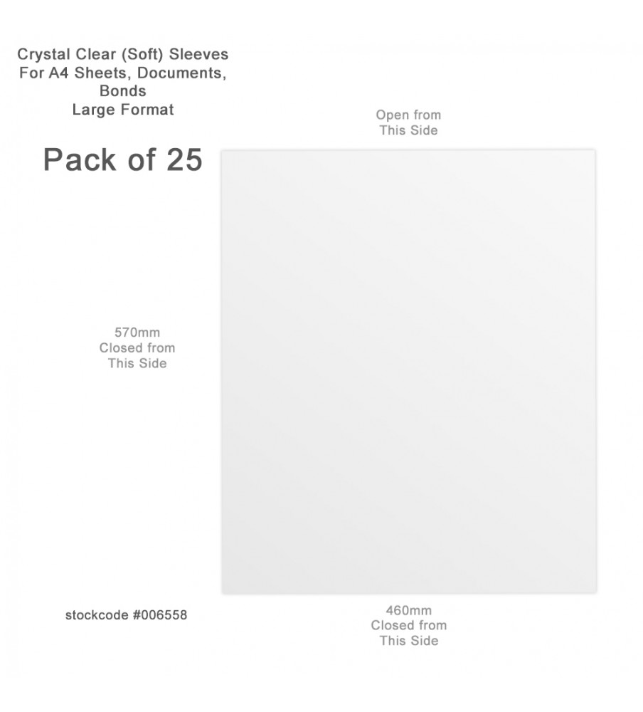 Plastic Sleeves W 46 x H 57, Open at W 46 , pack of 10, 230 gr