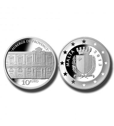 2013 MALTA - LM10 AUBERGE DE PROVENCE COMMEMORATIVE SILVER COIN PROOF S
