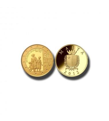 2012 MALTA - €50 ANTONIO SCIORTINO  COMMEMORATIVE GOLD COIN PROOF GOLD